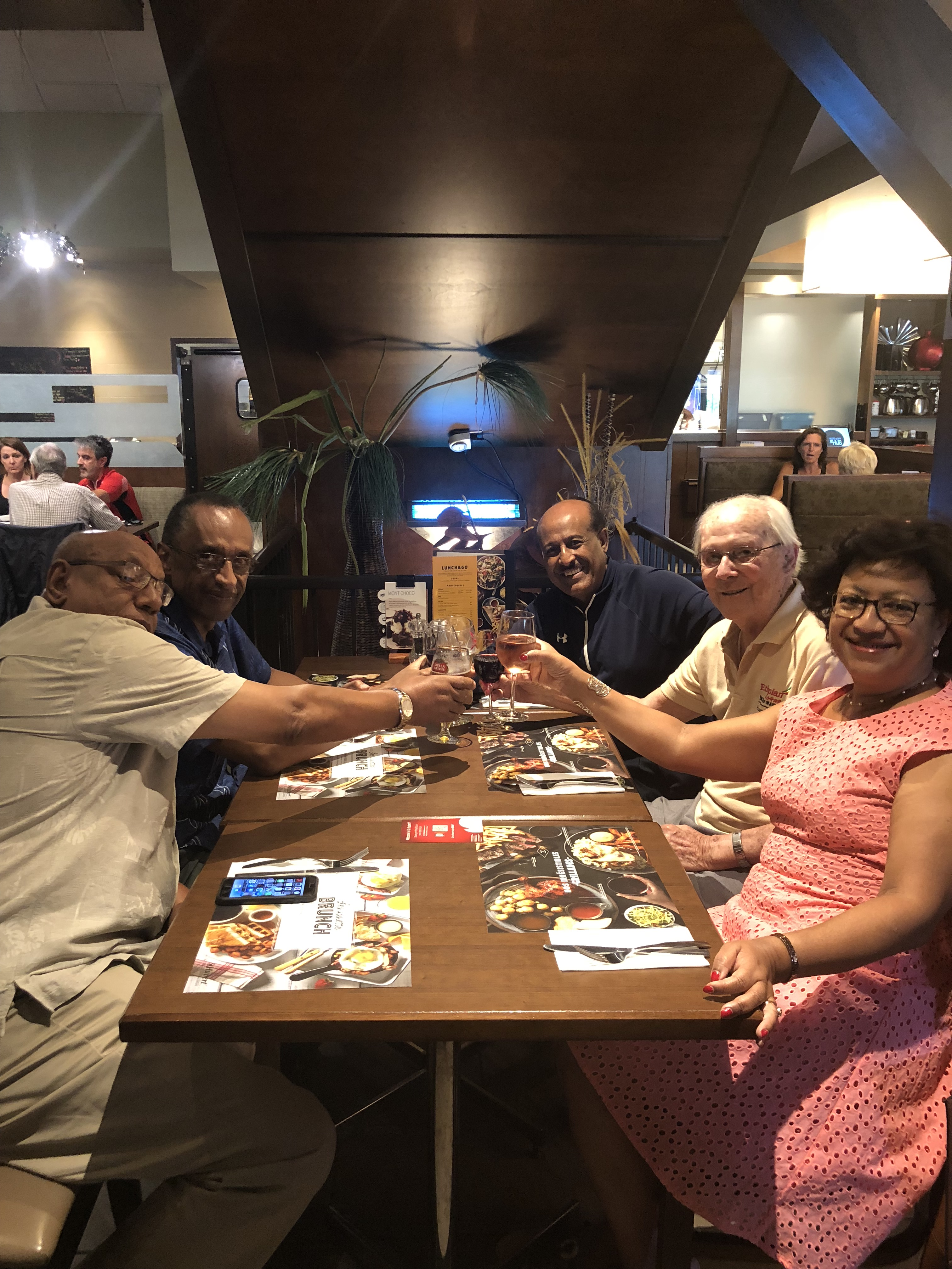 Toasting Father Turenne for 61 years of service at TMS and Ethiopia!
